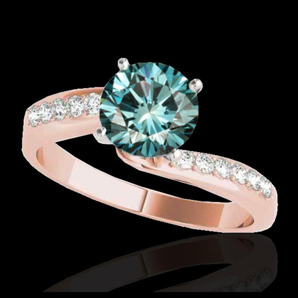 1.15 ctw SI Fancy Blue Diamond Bypass Ring 10K Rose Gold - REF-111N8A - SKU:35069