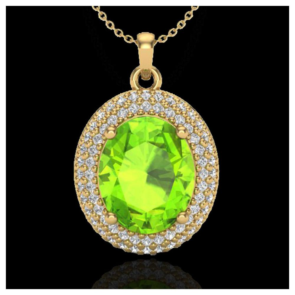 4.50 ctw Peridot & VS/SI Diamond Necklace 18K Yellow Gold - REF-112K7W - SKU:20570
