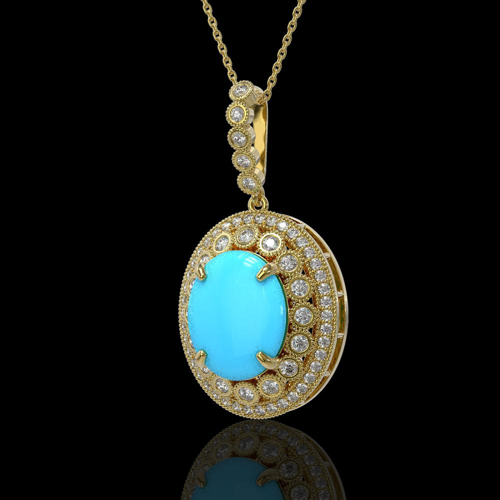 8.97 ctw Turquoise & Diamond Necklace 14K Yellow Gold - REF-199A6V - SKU:46136