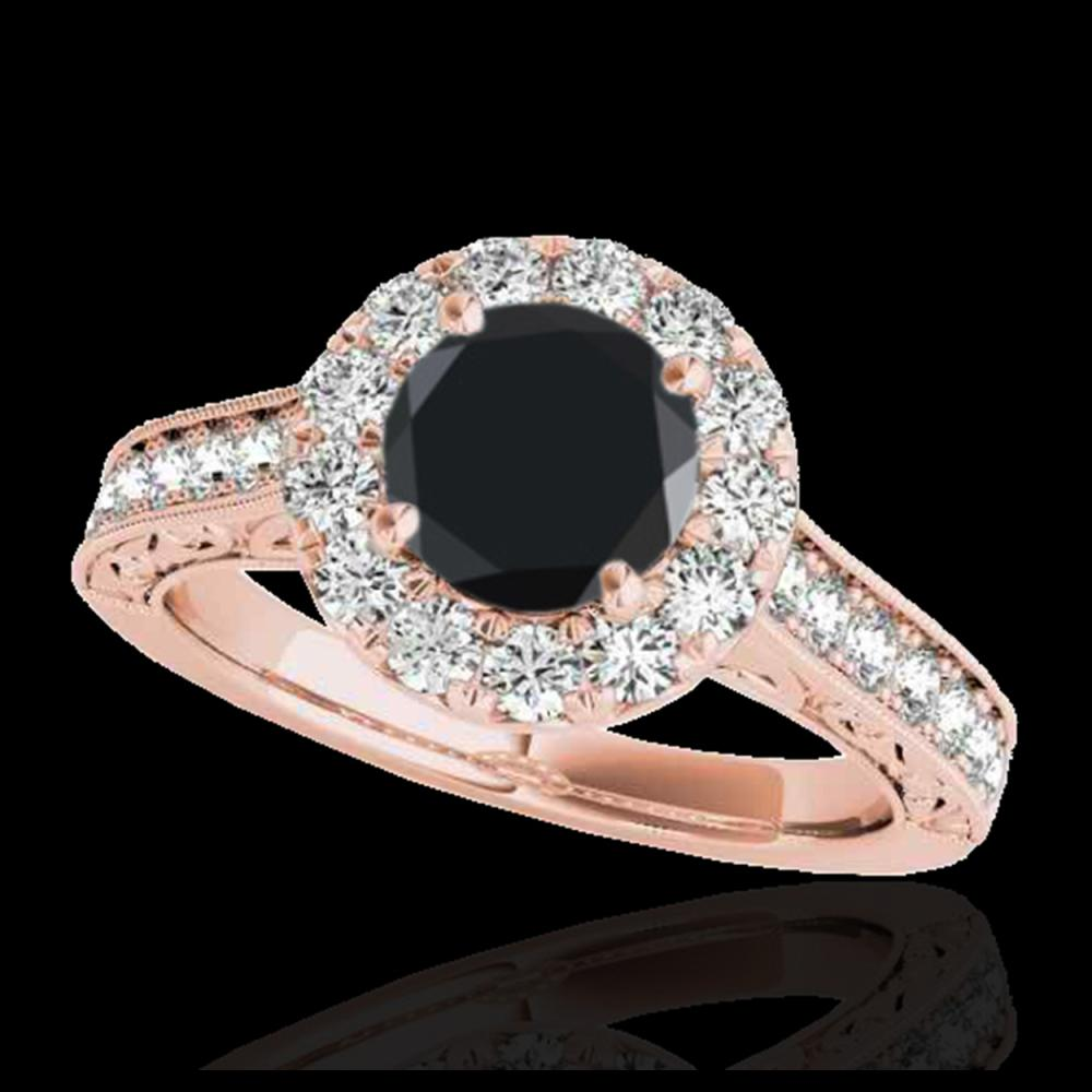 1.70 ctw VS Black Diamond Solitaire Halo Ring 10K Rose Gold - REF-77N7A - SKU:33728