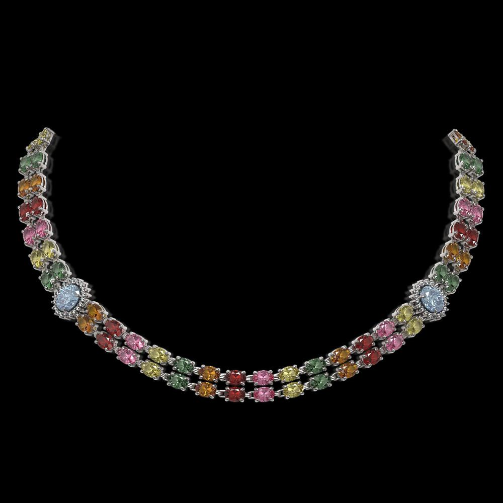 43.68 ctw Sapphire & Diamond Necklace 14K White Gold - REF-519R5K - SKU:44216