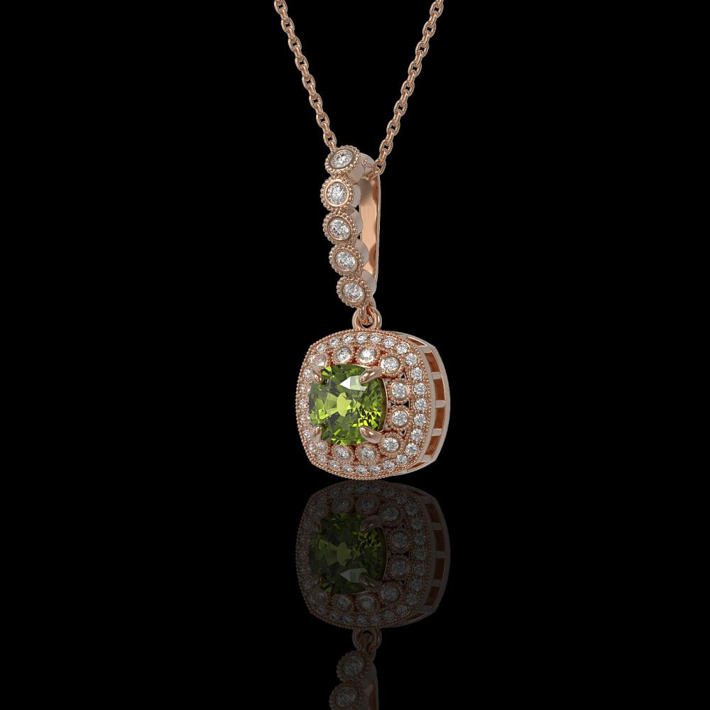 2.25 ctw Tourmaline & Diamond Necklace 14K Rose Gold - REF-81W3H - SKU:44091