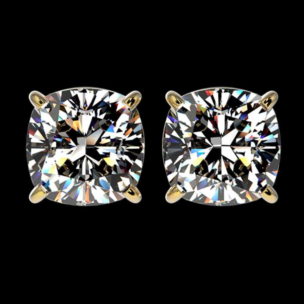 2.50 ctw VS/SI Cushion Diamond Stud Earrings 10K Yellow Gold - REF-735R2K - SKU:33119