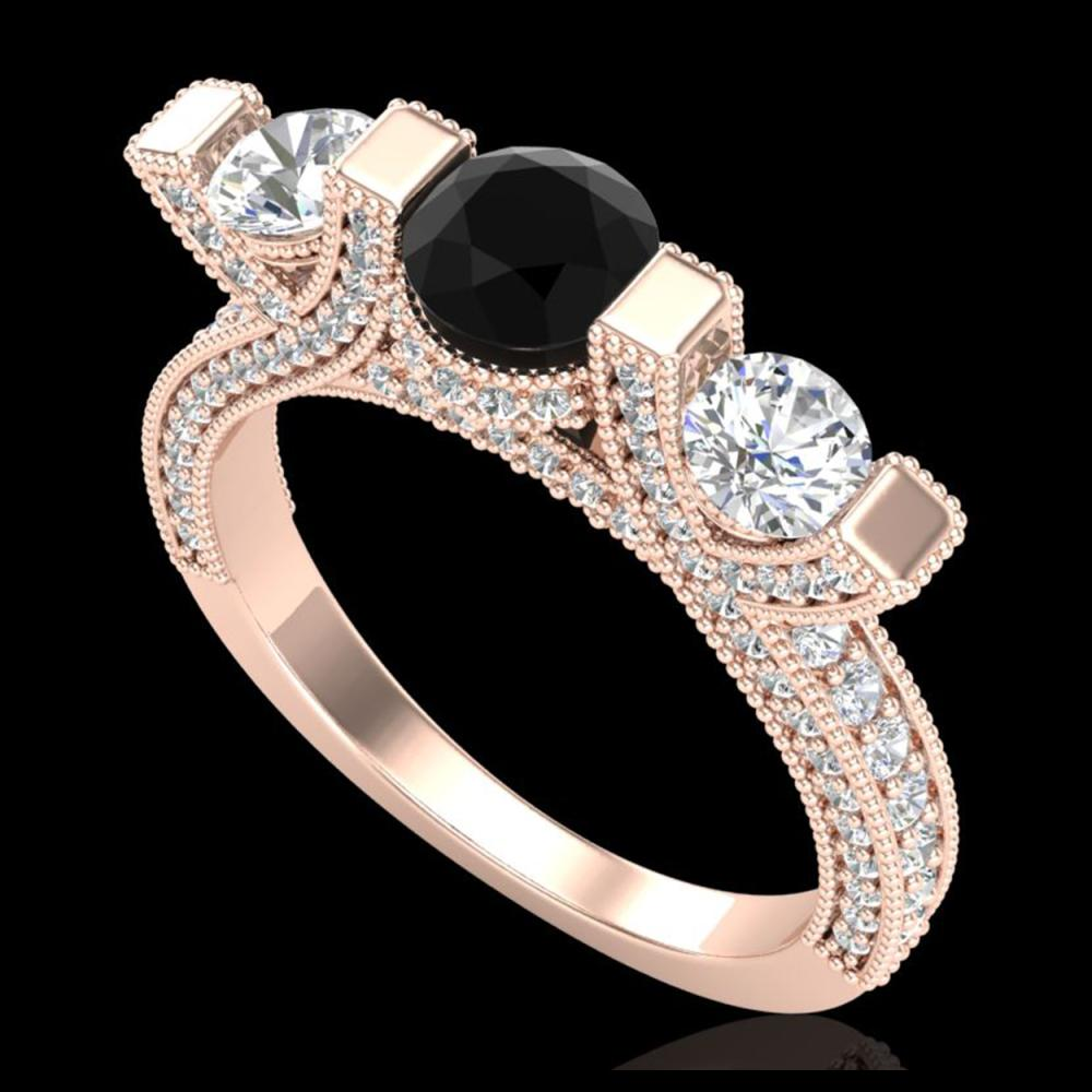 2.3 ctw Fancy Black Diamond 3 Stone Ring 18K Rose Gold - REF-200M2F - SKU:37640