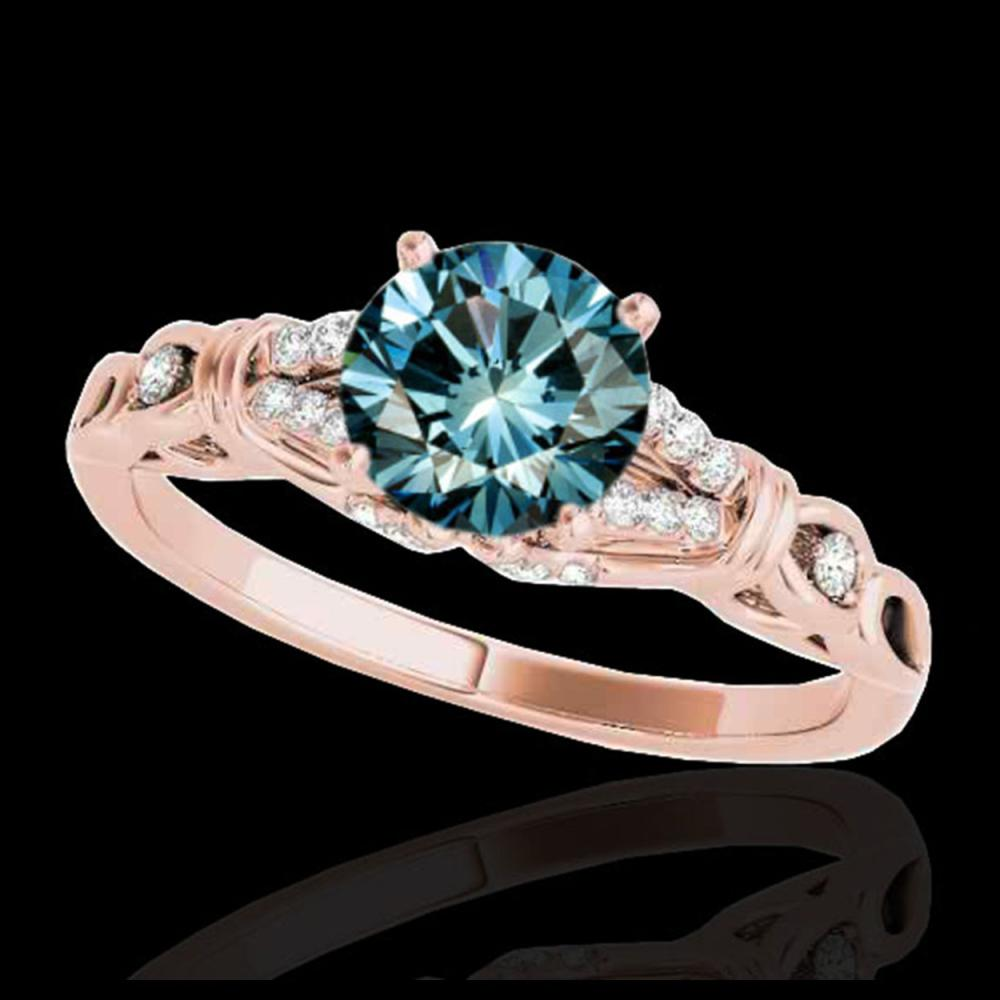1.20 ctw SI Fancy Blue Diamond Solitaire Ring 10K Rose Gold - REF-135Y2X - SKU:35256