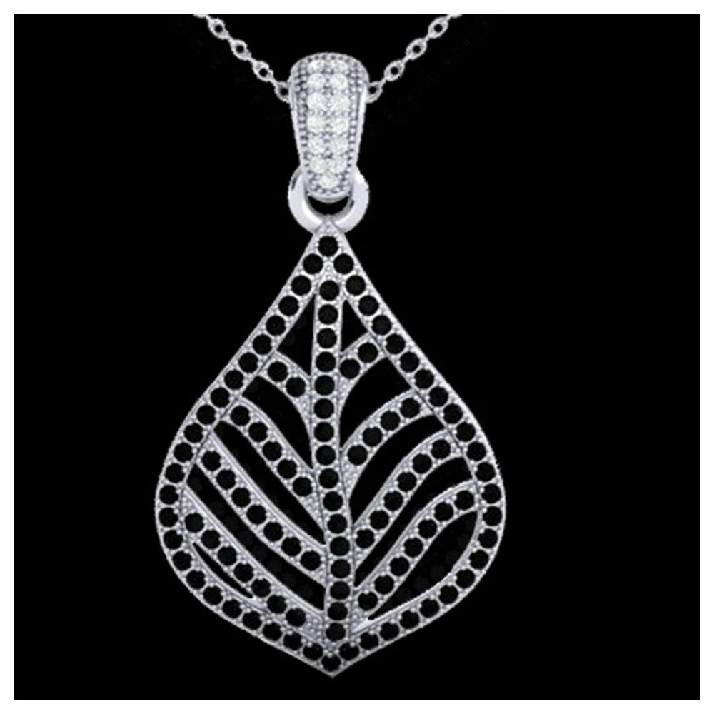 1.25 ctw Black & VS/SI Diamond Necklace 18K White Gold - REF-136K4W - SKU:21283