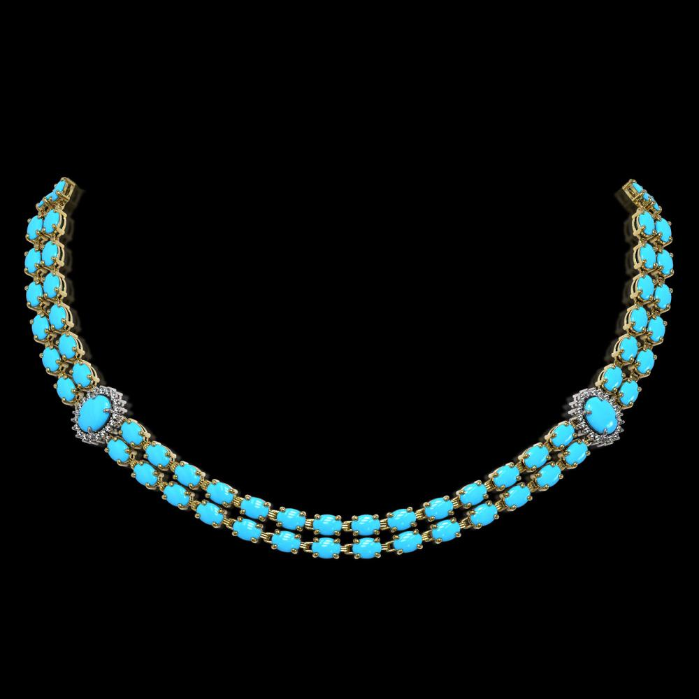 29.16 ctw Turquoise & Diamond Necklace 14K Yellow Gold - REF-371N5A - SKU:44221