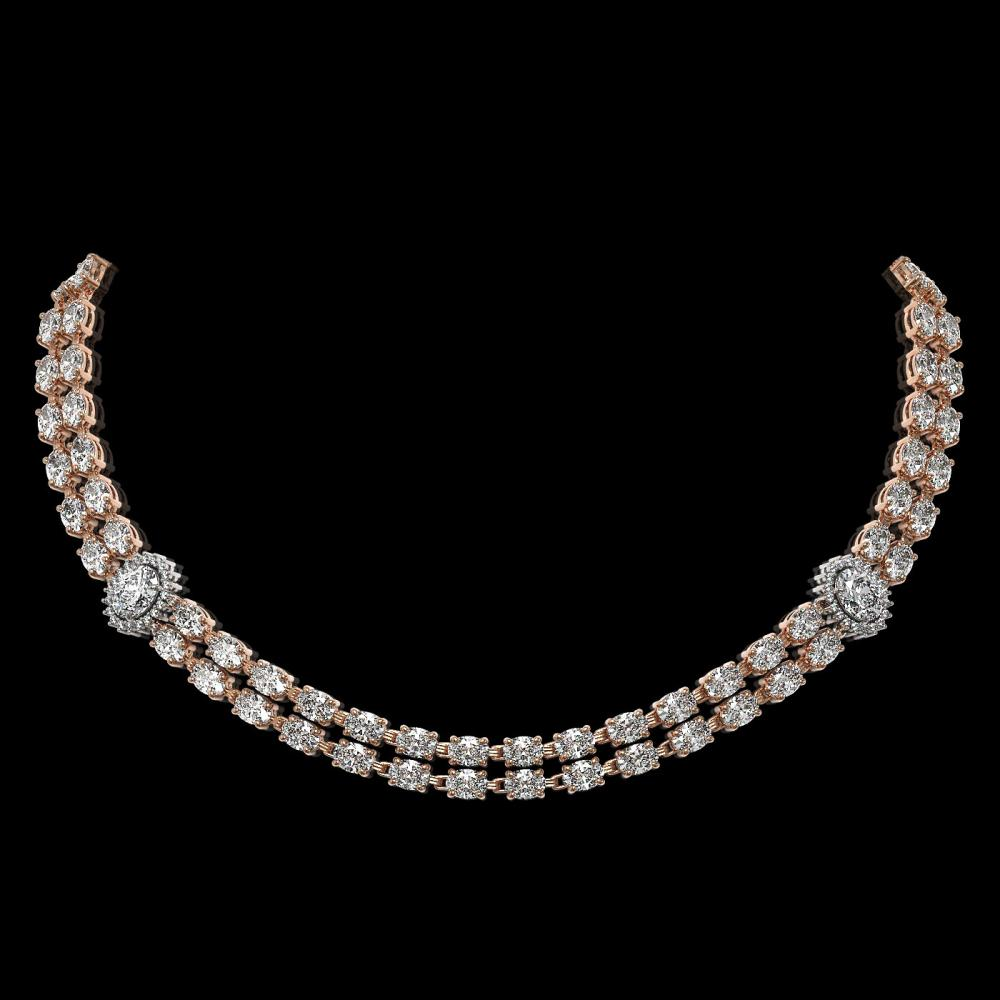 29.98 ctw Rare Oval Diamond Necklace 18K Rose Gold - REF-3584F9N - SKU:46195