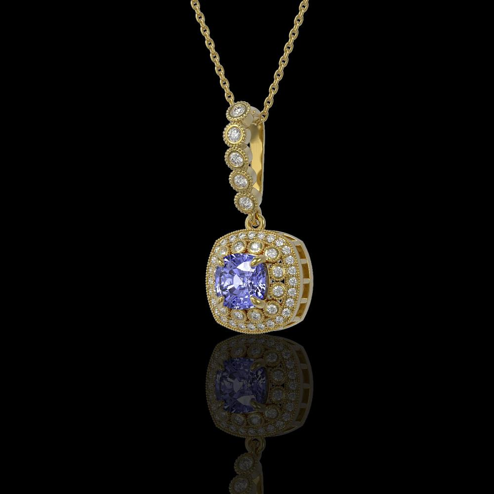 2.6 ctw Tanzanite & Diamond Necklace 14K Yellow Gold - REF-91H6M - SKU:44083