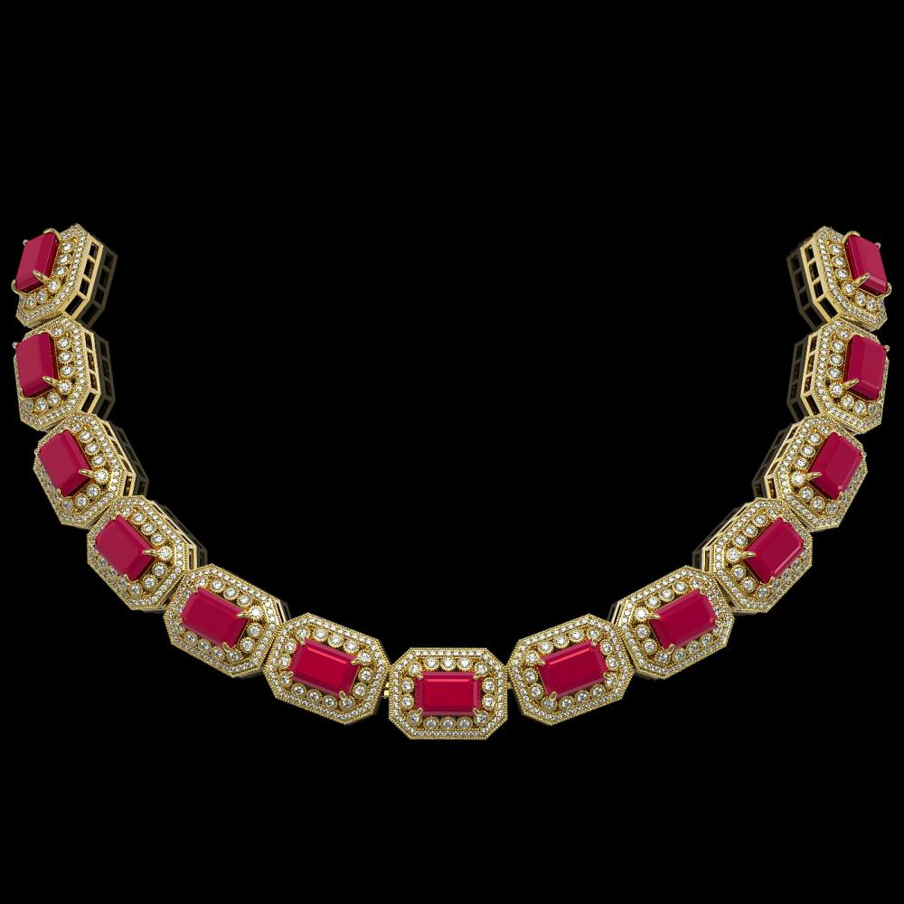 61.92 ctw Ruby & Diamond Bracelet 14K Yellow Gold - REF-1288F4N - SKU:43489