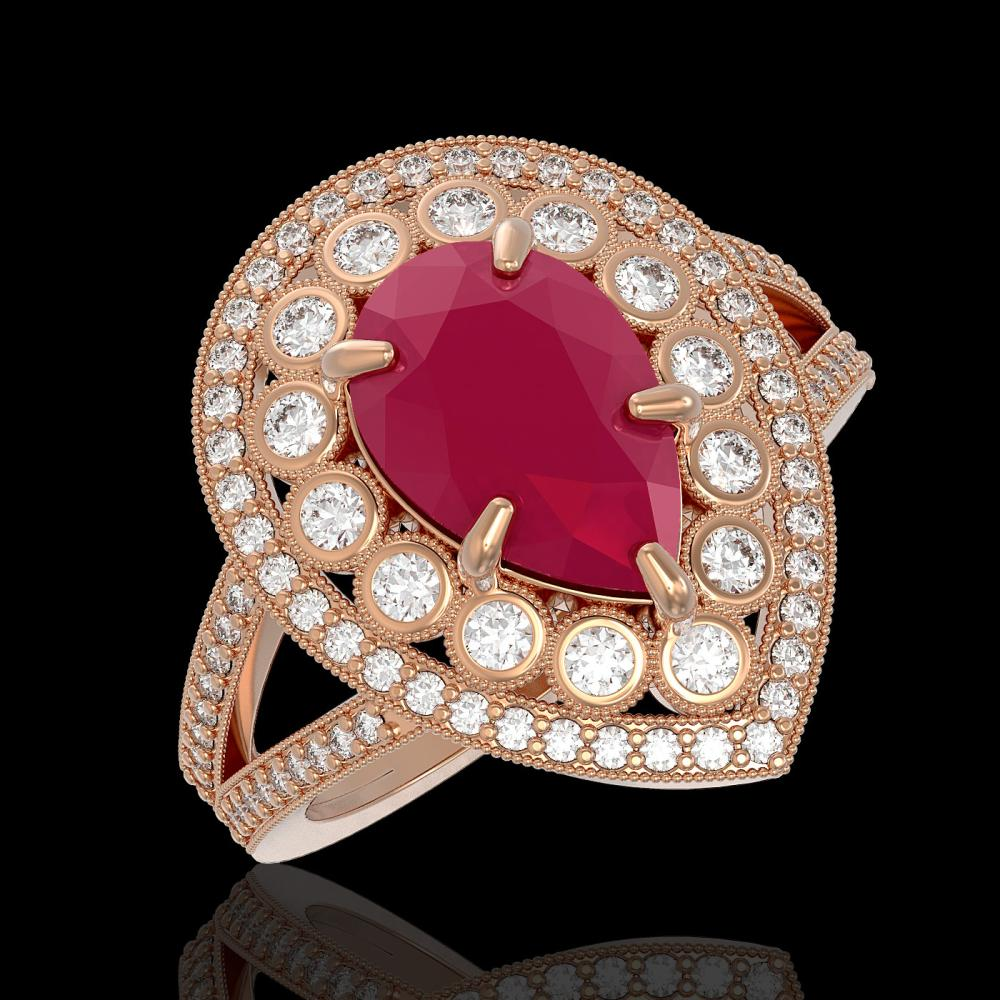 5.12 ctw Ruby & Diamond Ring 14K Rose Gold - REF-153W3H - SKU:43122