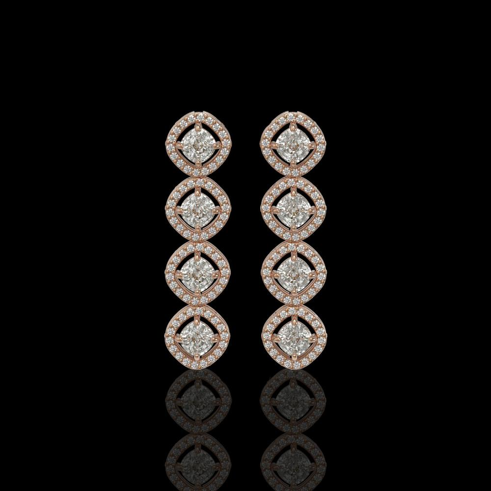 3.84 ctw Cushion Diamond Earrings 18K Rose Gold - REF-337R5K - SKU:42981