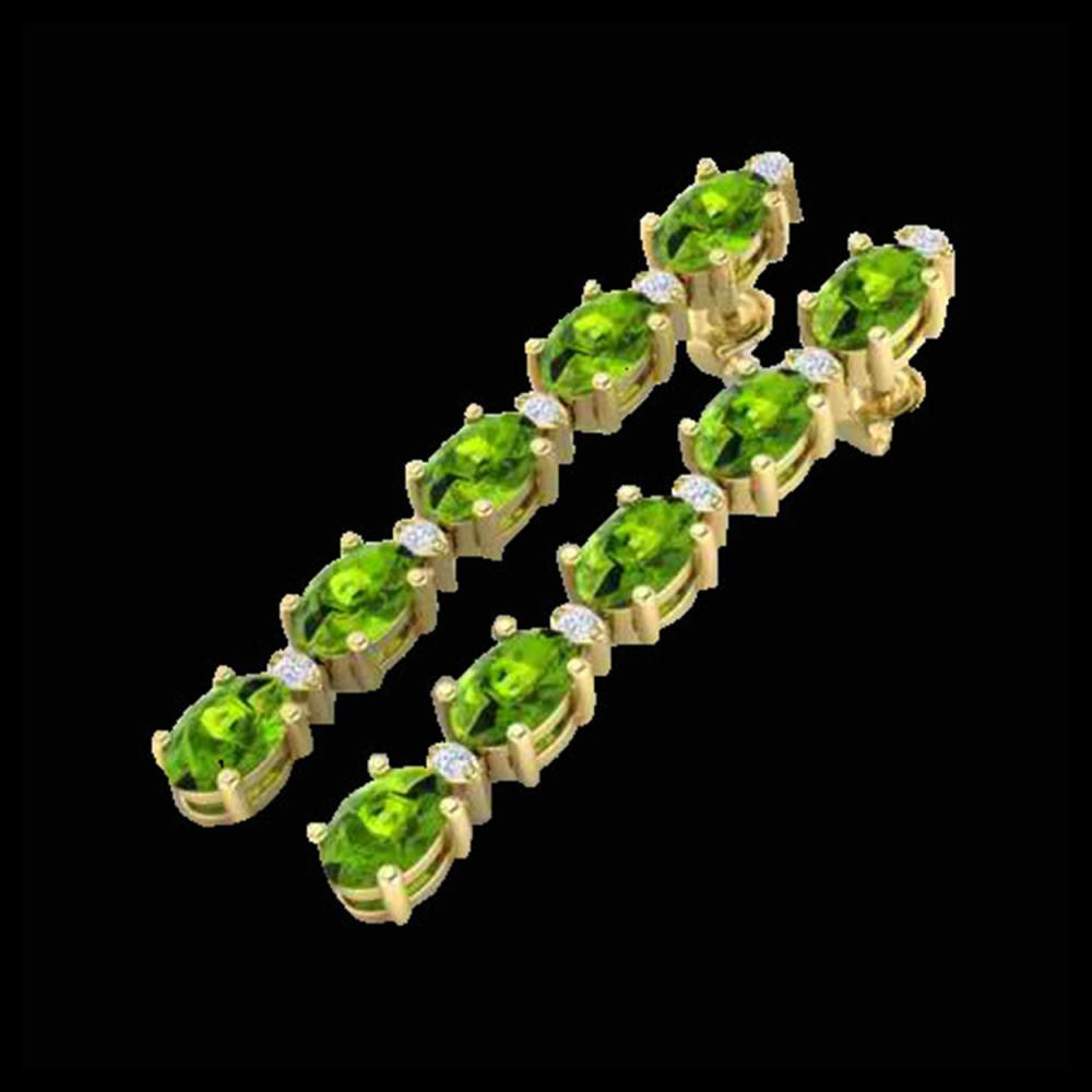 10.36 ctw Peridot & VS/SI Diamond Earrings 10K Yellow Gold - REF-65F8N - SKU:29402