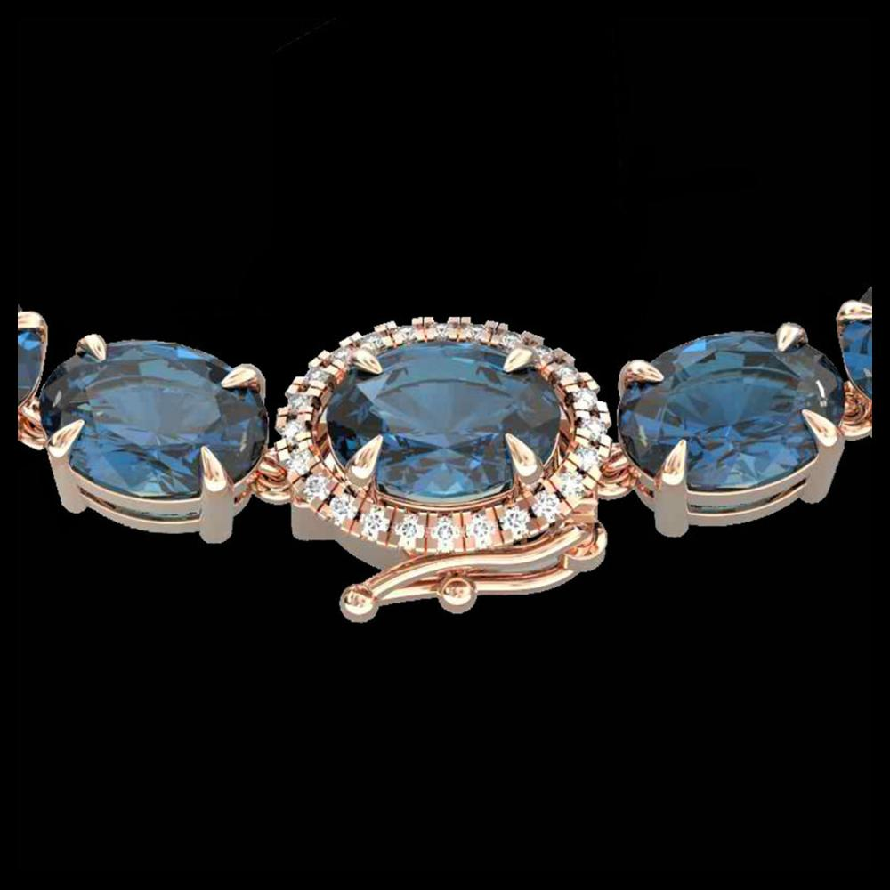 45.25 ctw London Blue Topaz & VS/SI Diamond Necklace 14K Rose Gold - REF-236A4V - SKU:40290