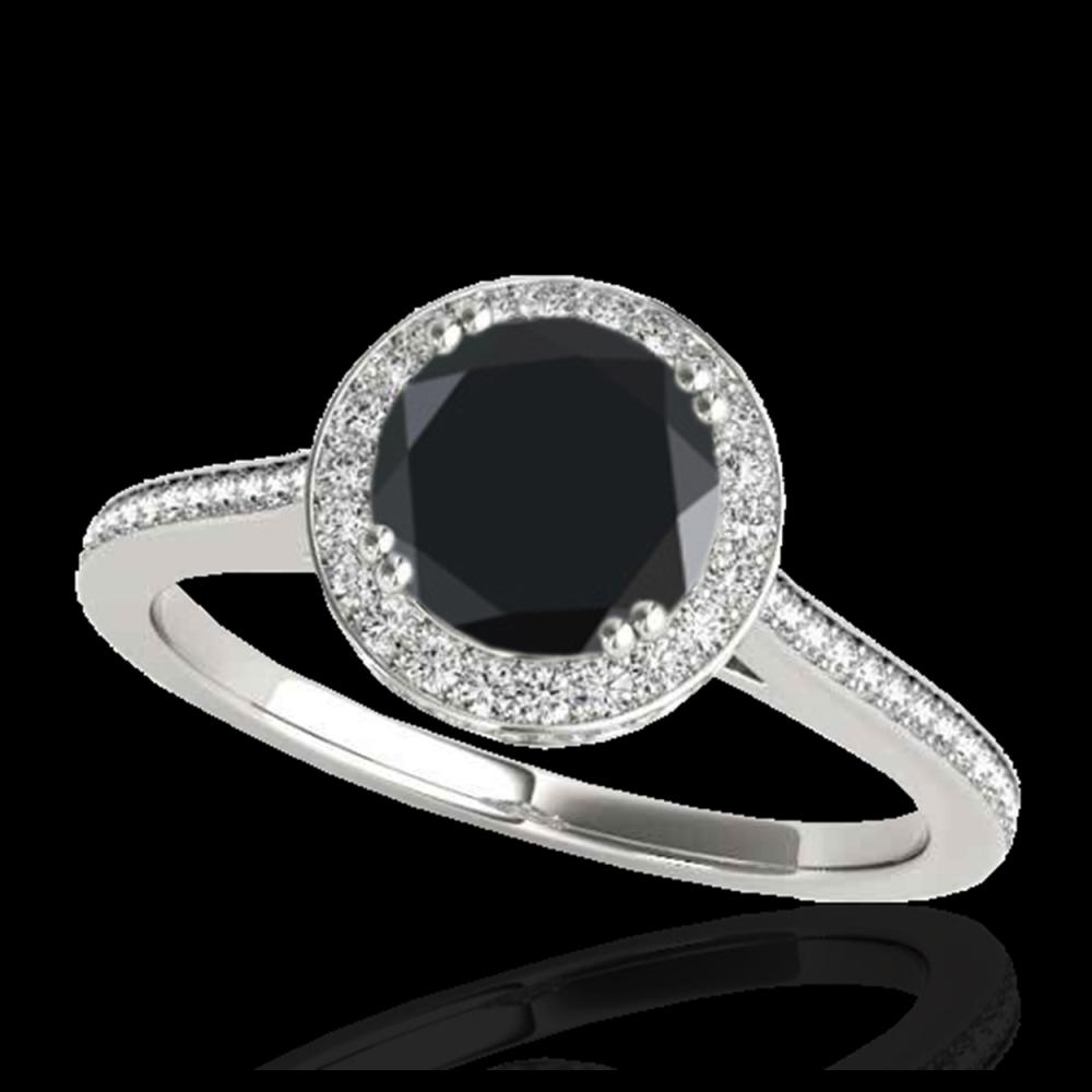 1.55 ctw VS Black Diamond Solitaire Halo Ring 10K White Gold - REF-67V6Y - SKU:33529
