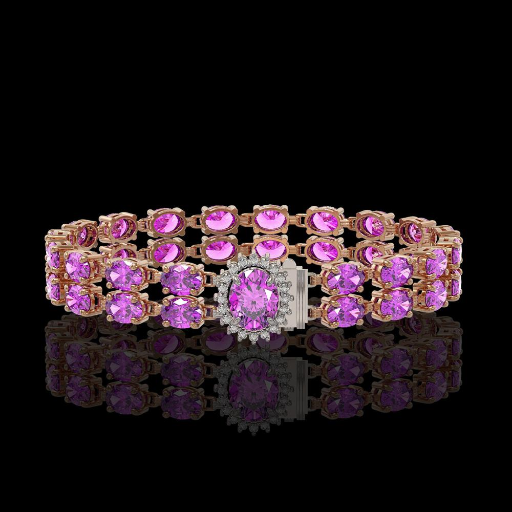 14.1 ctw Amethyst & Diamond Bracelet 14K Rose Gold - REF-125Y5X - SKU:45462