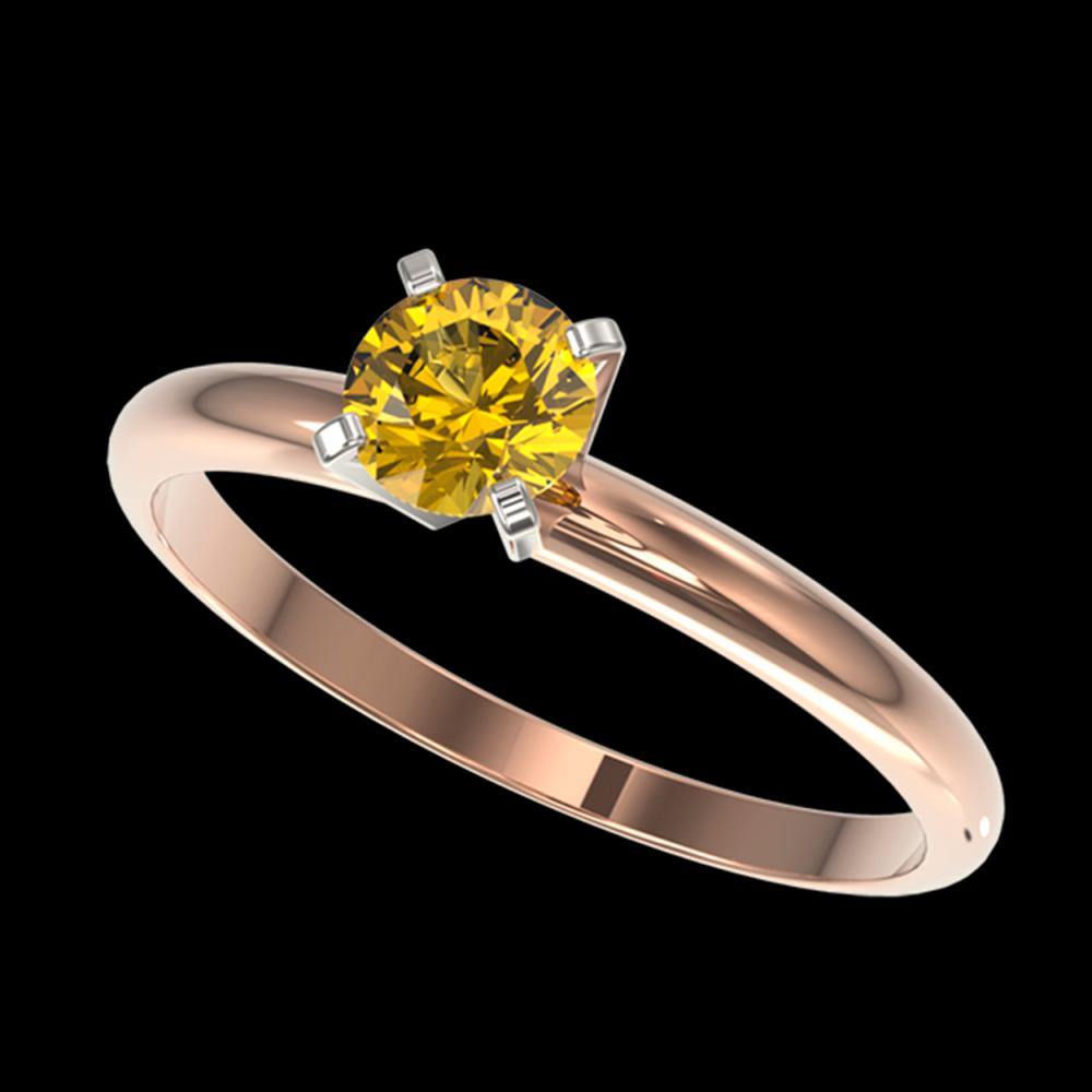0.50 ctw Intense Yellow Diamond Ring 10K Rose Gold - REF-58W5H - SKU:32864