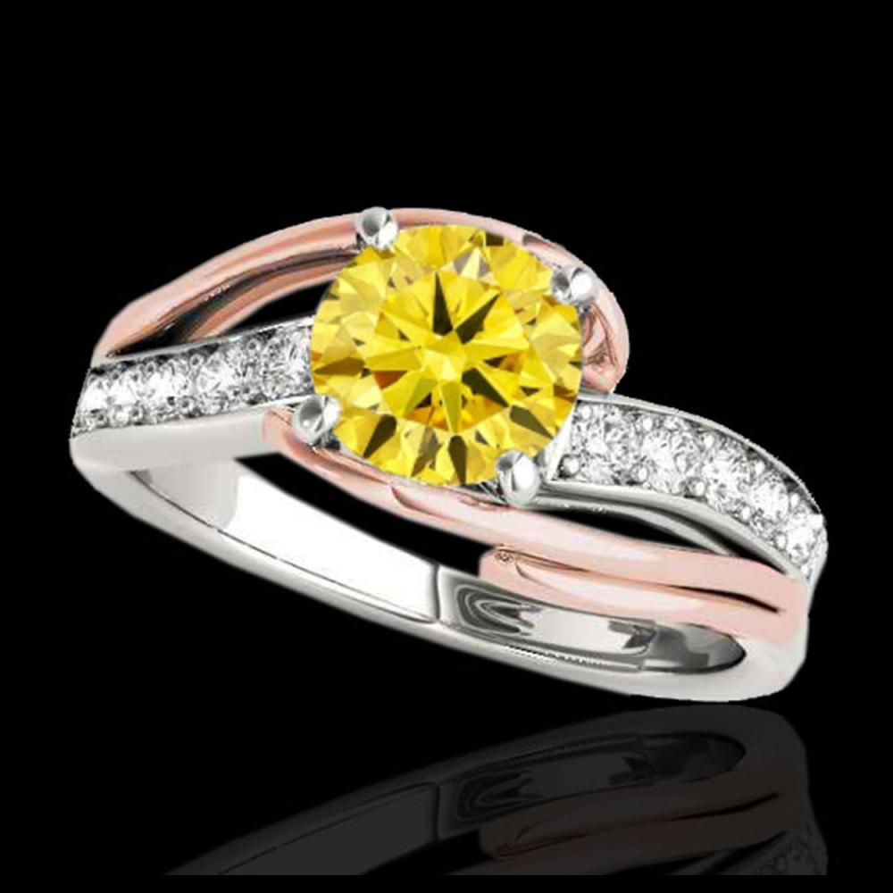 1.50 ctw SI Intense Diamond Bypass Solitaire Ring 10K White & Rose Gold - REF-163W6H - SKU:35128