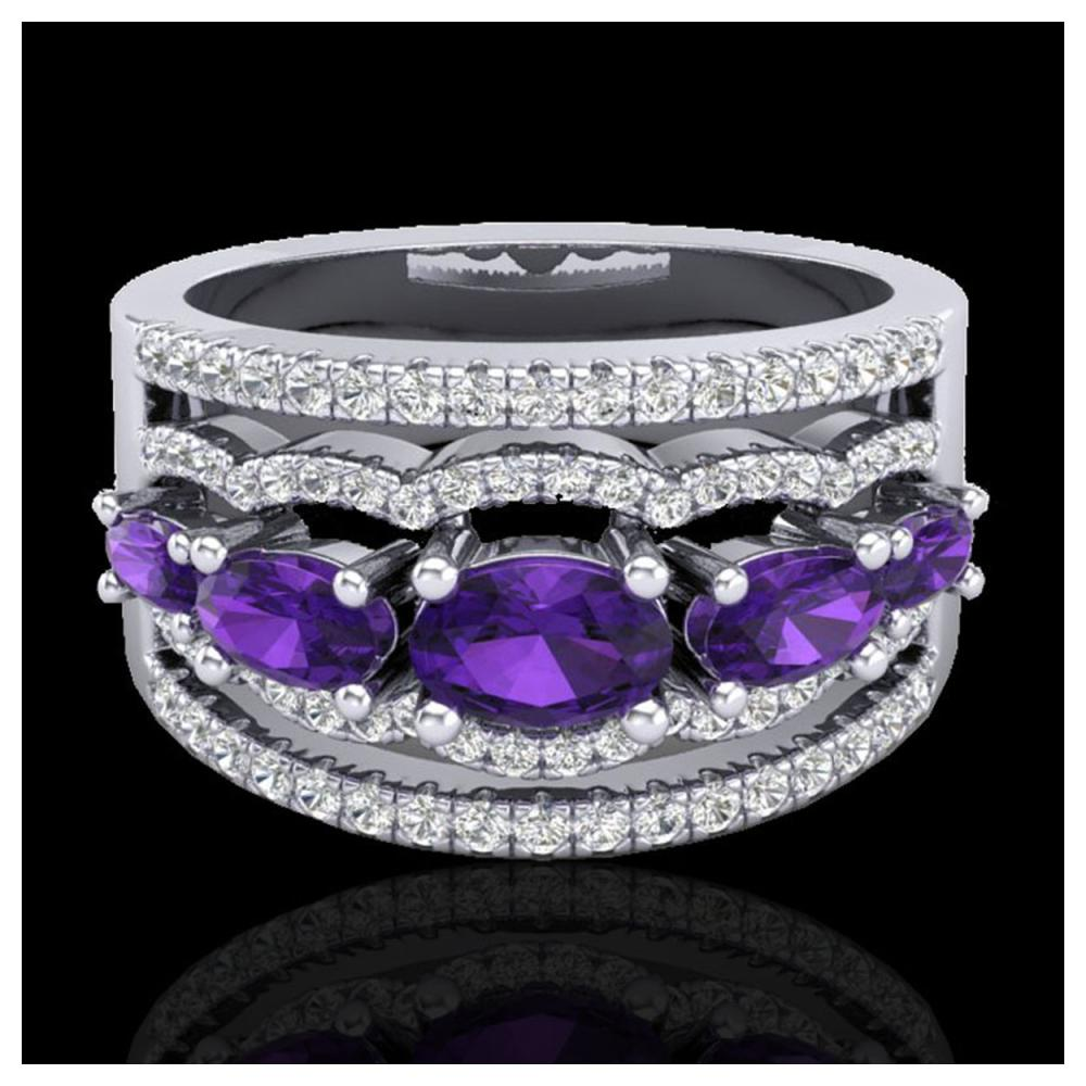 2.25 ctw Amethyst & VS/SI Diamond Ring 10K White Gold - REF-66M9F - SKU:20792