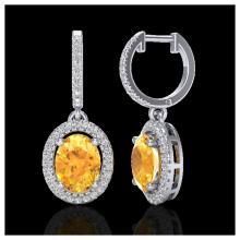 Lot 3005: 3.50 ctw Citrine & VS/SI Diamond Earrings 18K White Gold - REF-94F5N - SKU:20320