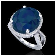 Lot 3008: 12 ctw Sapphire & VS/SI Diamond Ring 18K White Gold - REF-143K6W - SKU:20967