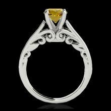Lot 3010: 1 ctw SI/I Fancy Intense Yellow Diamond Ring 10K White Gold - REF-156A8V - SKU:35144