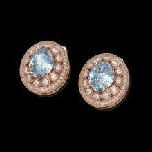 Lot 3001: 7.24 ctw Aquamarine & Diamond Earrings 14K Rose Gold - REF-221W6H - SKU:43641