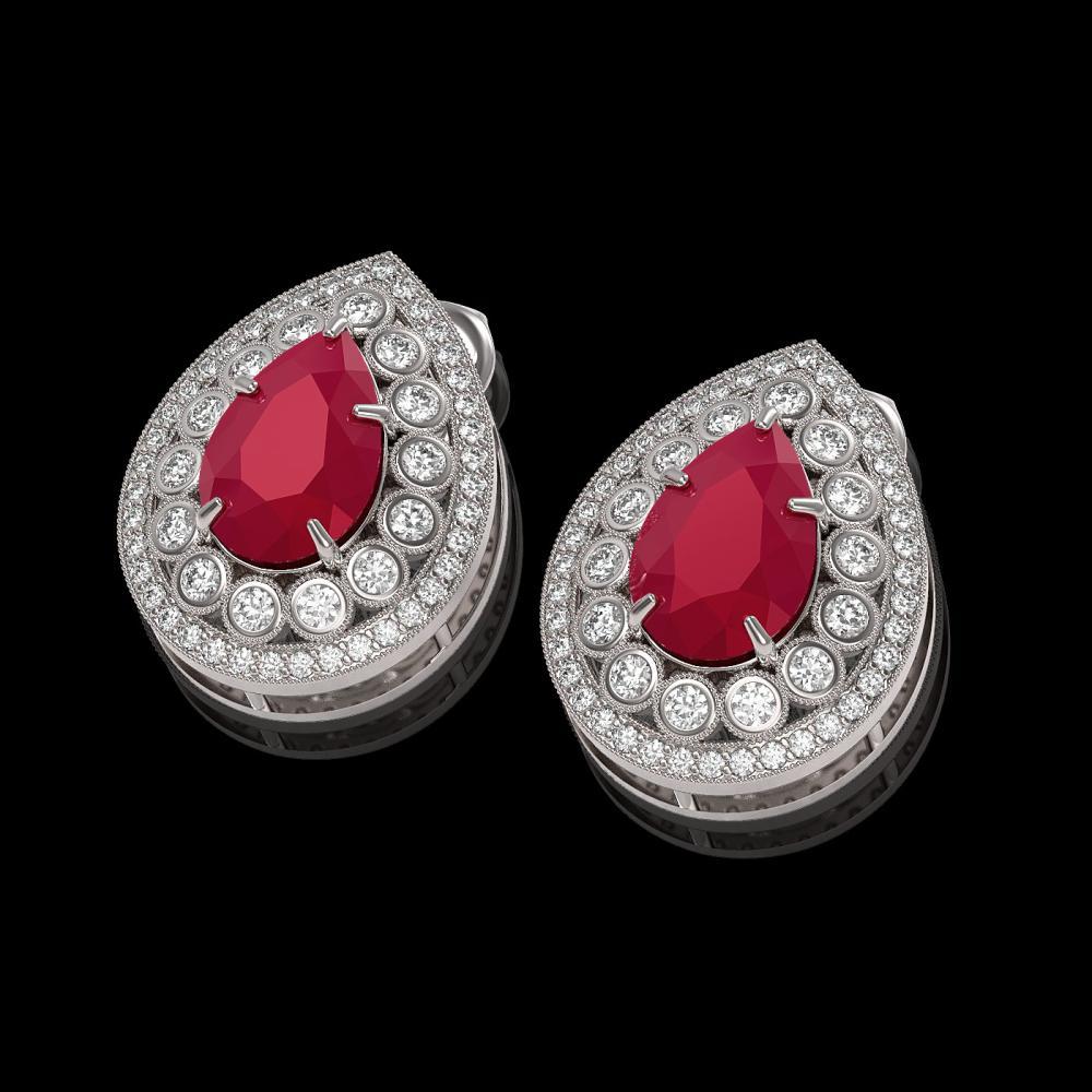 Lot 3011: 9.74 ctw Ruby & Diamond Earrings 14K White Gold - REF-254N4A - SKU:43175