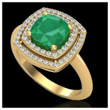 Lot 3015: 2.52 ctw Emerald & VS/SI Diamond Ring 18K Yellow Gold - REF-70W9H - SKU:20760