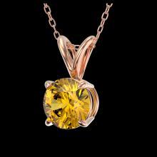 Lot 3017: 0.75 ctw Intense Yellow Diamond Necklace 10K Rose Gold - REF-100A5V - SKU:33181