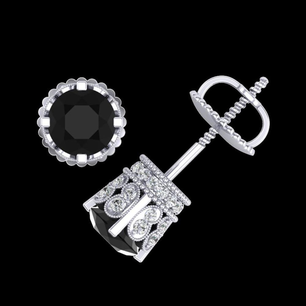 Lot 3024: 3 ctw Fancy Black Diamond Art Deco Stud Earrings 18K White Gold - REF-149Y3X - SKU:37359