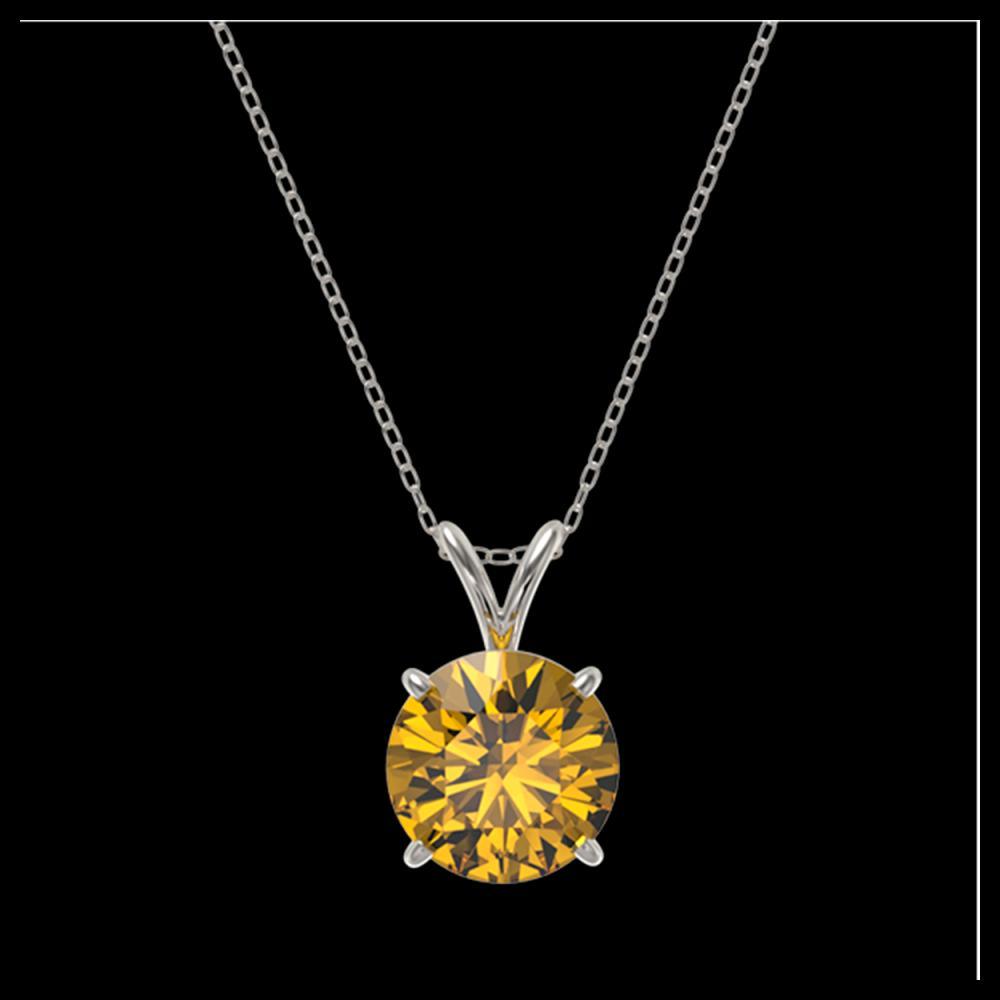 Lot 3025: 2.03 ctw Intense Yellow Diamond Necklace 10K White Gold - REF-555N2A - SKU:36816