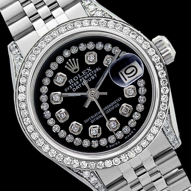 Rolex Men's Stainless Steel, QuickSet, Diamond Dial & Diamond Bezel - REF-501A8N