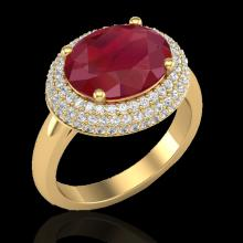 4.50 CTW Ruby & Micro Pave VS/SI Diamond Certified Ring 18K Gold - 20923-REF-119K6W