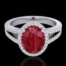 3 CTW Ruby & Micro Pave VS/SI Diamond Halo Solitaire Ring 18K Gold - 20947-REF-78N2Y