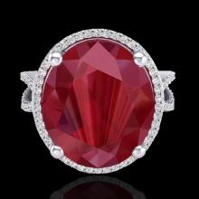 12 CTW Ruby & Micro Pave VS/SI Diamond Certified Halo Ring 18K Gold - 20965-REF-143H6Z