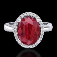 3 CTW Ruby And Micro Pave VS/SI Diamond Certified Ring Halo 18K Gold - 21112-REF-64Z9K