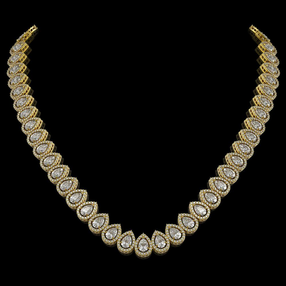 34.83 ctw Pear Diamond Necklace 18K Yellow Gold - REF-4761H8M - SKU:42769