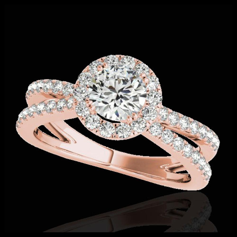 2 ctw H-SI/I Diamond Solitaire Halo Ring 10K Rose Gold - REF-252Y3X - SKU:33856