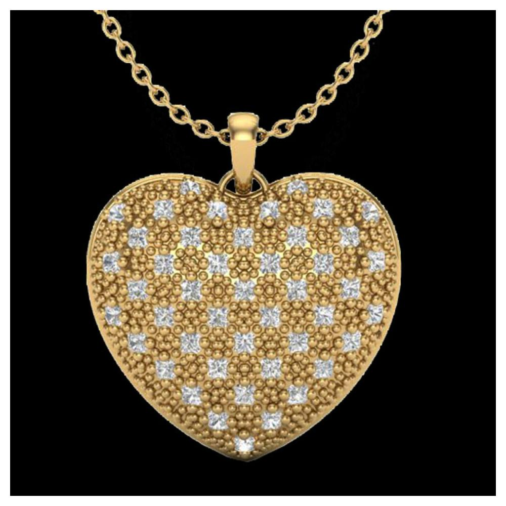 1.0 ctw VS/SI Diamond Heart Necklace 14K Yellow Gold - REF-87W3H - SKU:20491