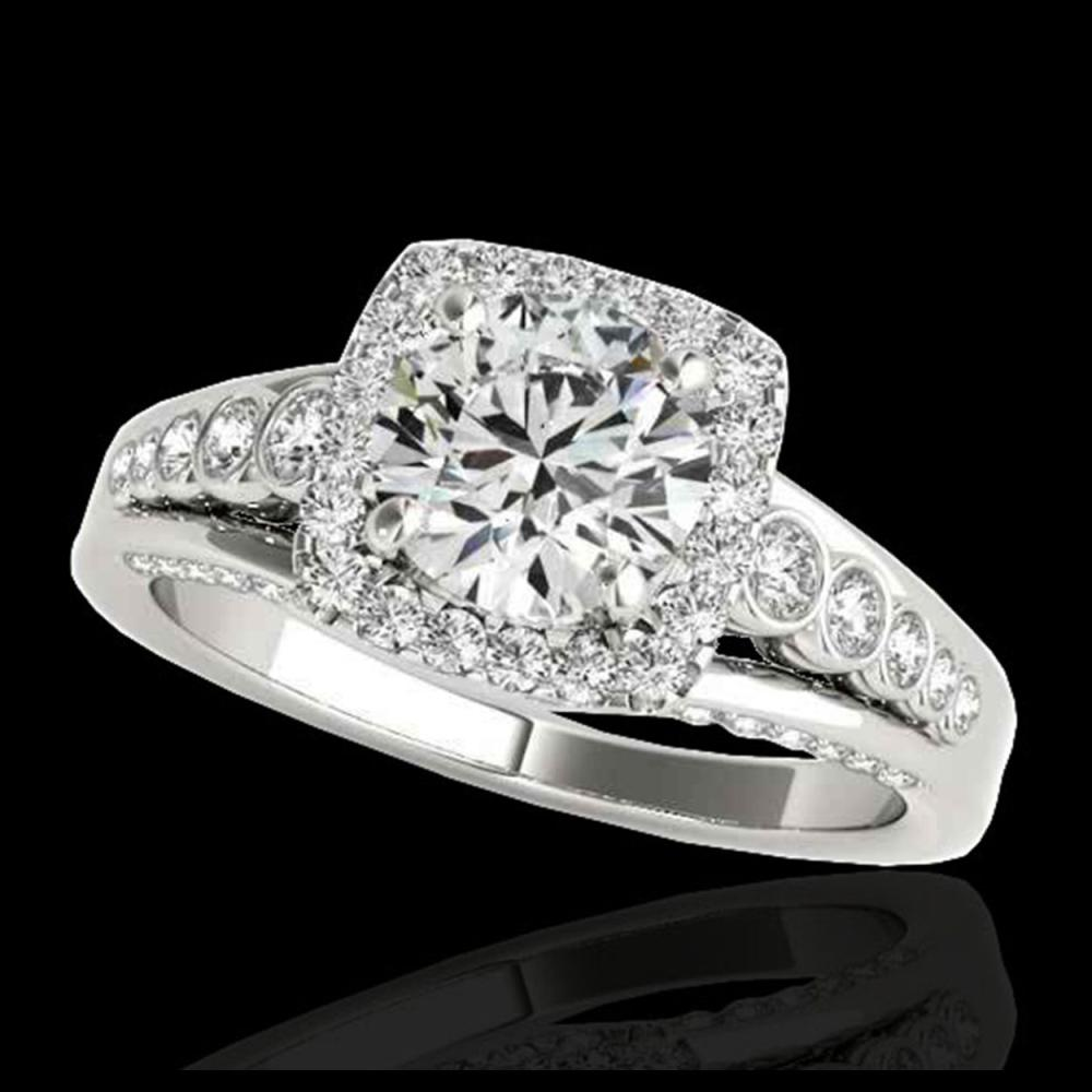 1.75 ctw H-SI/I Diamond Solitaire Halo Ring 10K White Gold - REF-145F9N - SKU:34310