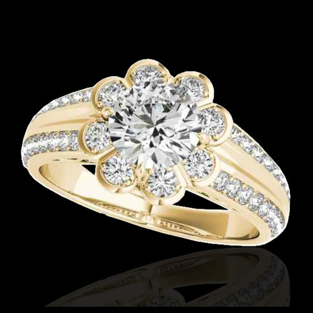 1.50 ctw H-SI/I Diamond Solitaire Halo Ring 10K Yellow Gold - REF-128W7H - SKU:34470