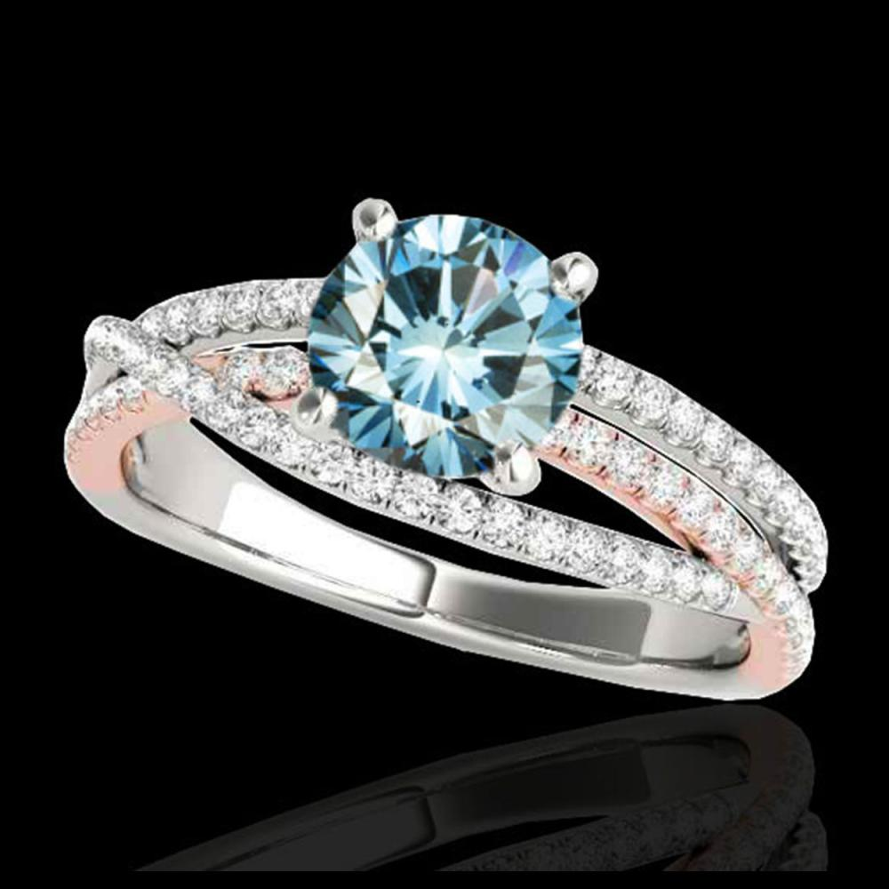 1.65 ctw SI Blue Diamond Solitaire Ring 10K White & Rose Gold - REF-167N3A - SKU:35549