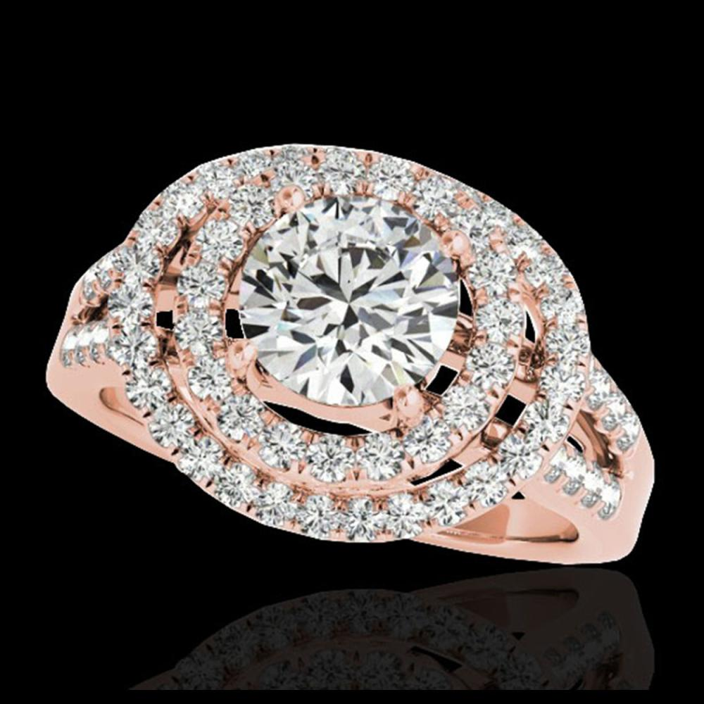 1.75 ctw H-SI/I Diamond Solitaire Halo Ring 10K Rose Gold - REF-177Y3X - SKU:34284