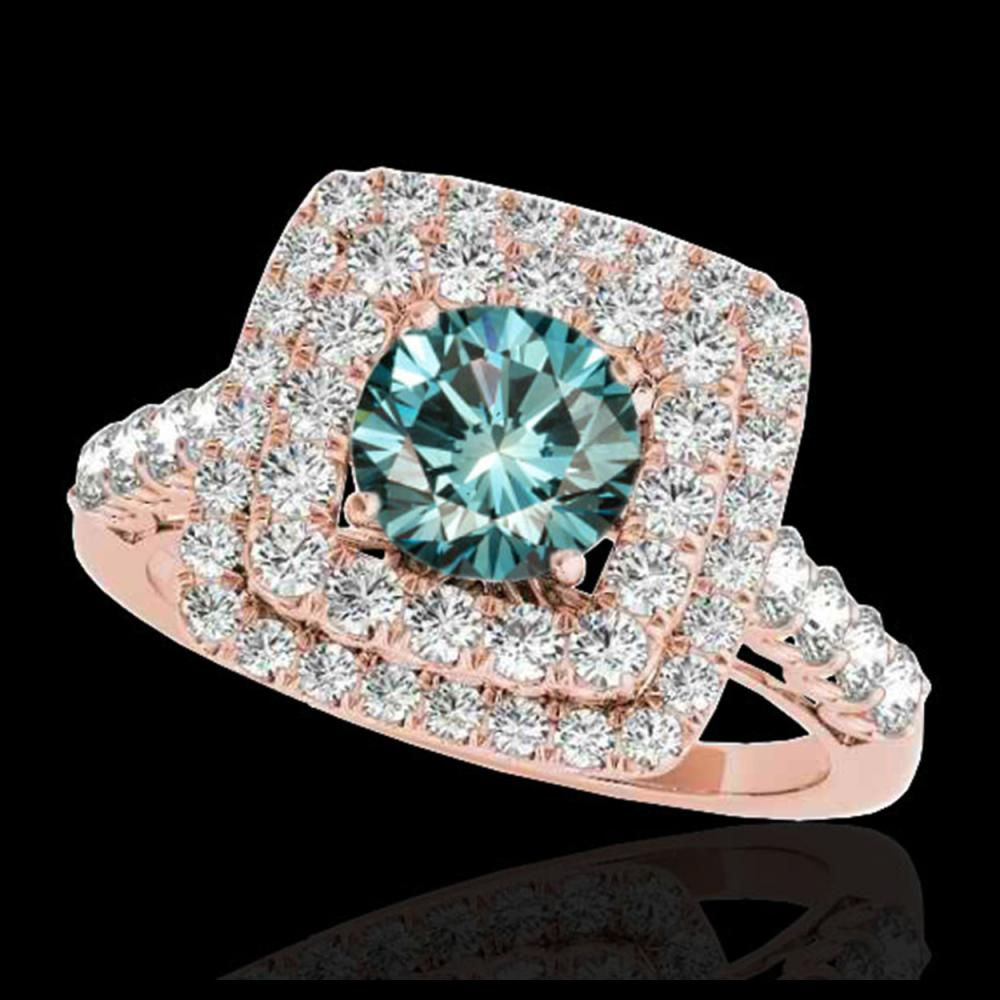 2.3 ctw SI Fancy Blue Diamond Solitaire Halo Ring 10K Rose Gold - REF-190X9R - SKU:34600
