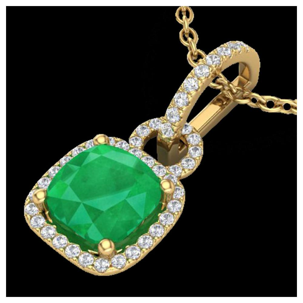 3 ctw Emerald & VS/SI Diamond Necklace 18K Yellow Gold - REF-70N9A - SKU:22982