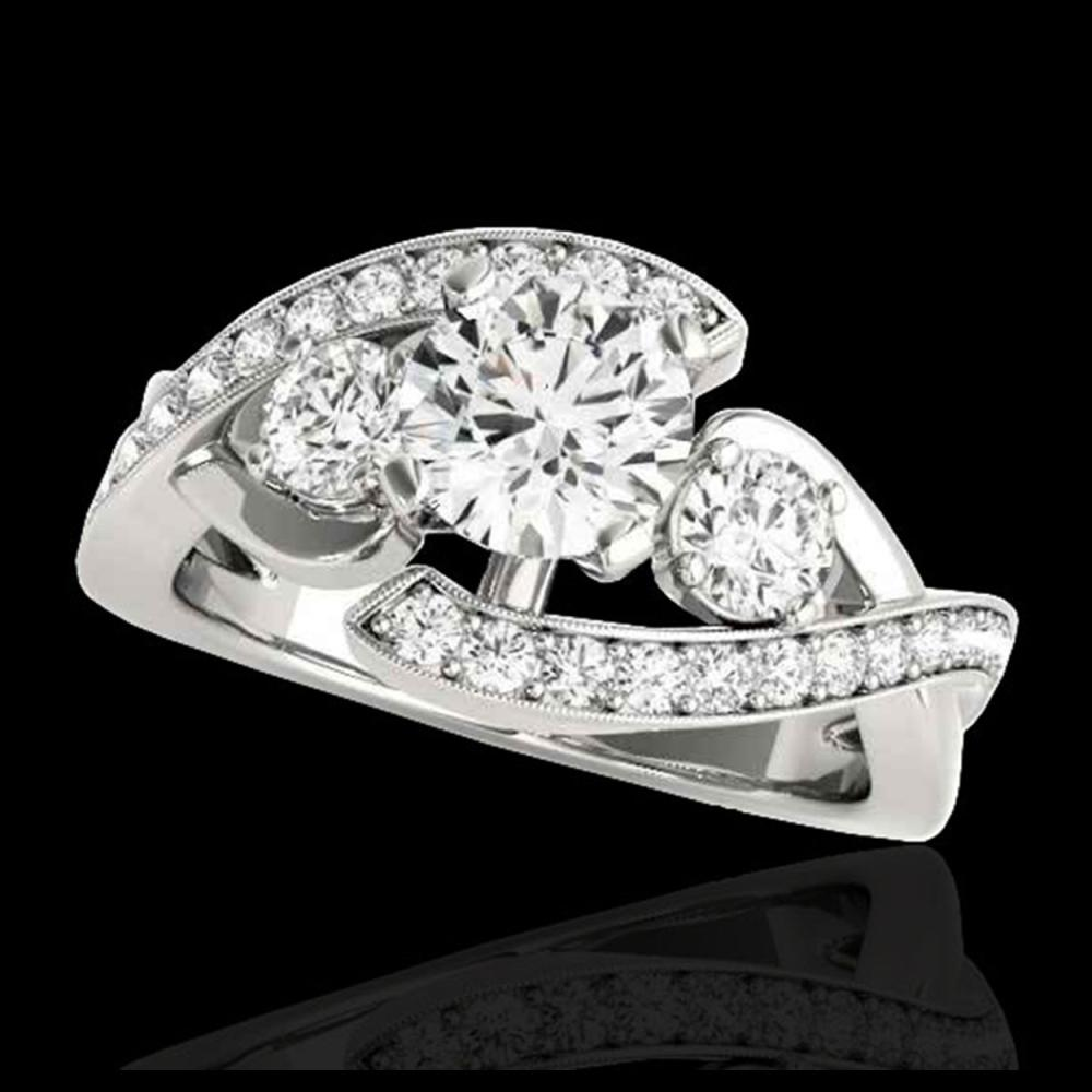 2.01 ctw H-SI/I Diamond Bypass Solitaire Ring 10K White Gold - REF-190A9V - SKU:35045
