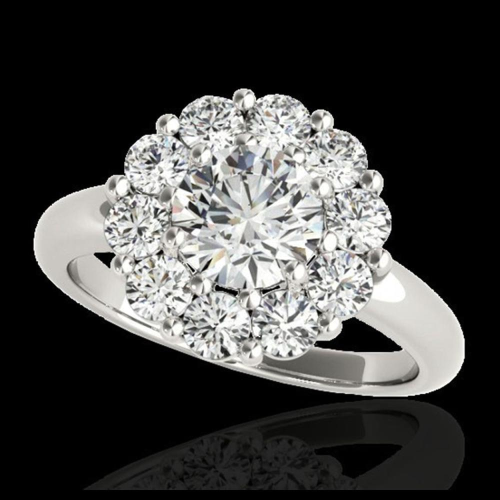 2.85 ctw H-SI/I Diamond Solitaire Halo Ring 10K White Gold - REF-395M5F - SKU:34432