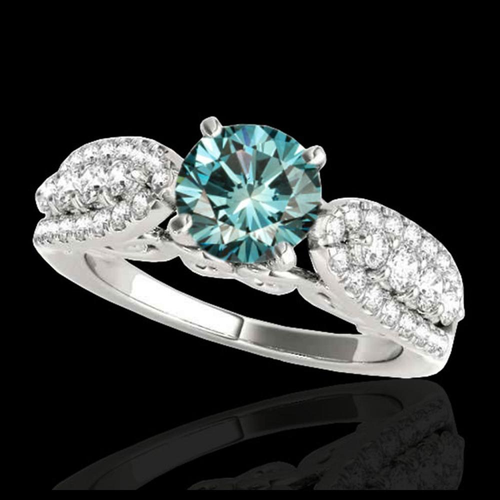 1.70 ctw SI Fancy Blue Diamond Solitaire Ring 10K White Gold - REF-135K2W - SKU:35264
