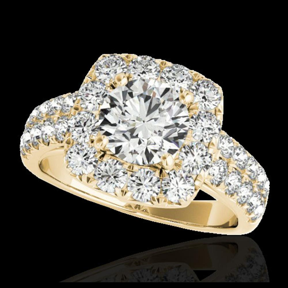 2.5 ctw H-SI/I Diamond Solitaire Halo Ring 10K Yellow Gold - REF-211N4A - SKU:33645
